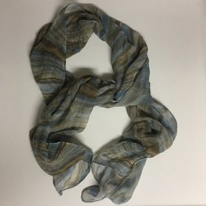 Accessories - Sheer Crinkle Blue Brown Muted Scarf